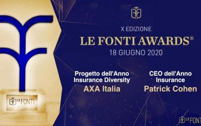 "Doppio riconoscimento per AXA Italia ai ""Le Fonti Insurance Awards 2020″"